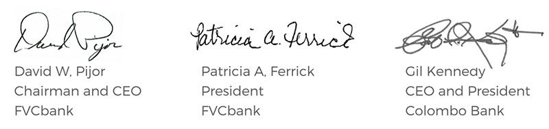 Colombobank FVCbank acquisition signatures